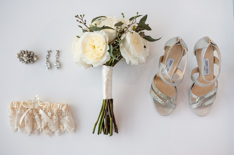 White Wedding Bouquet and Bridal Accessories