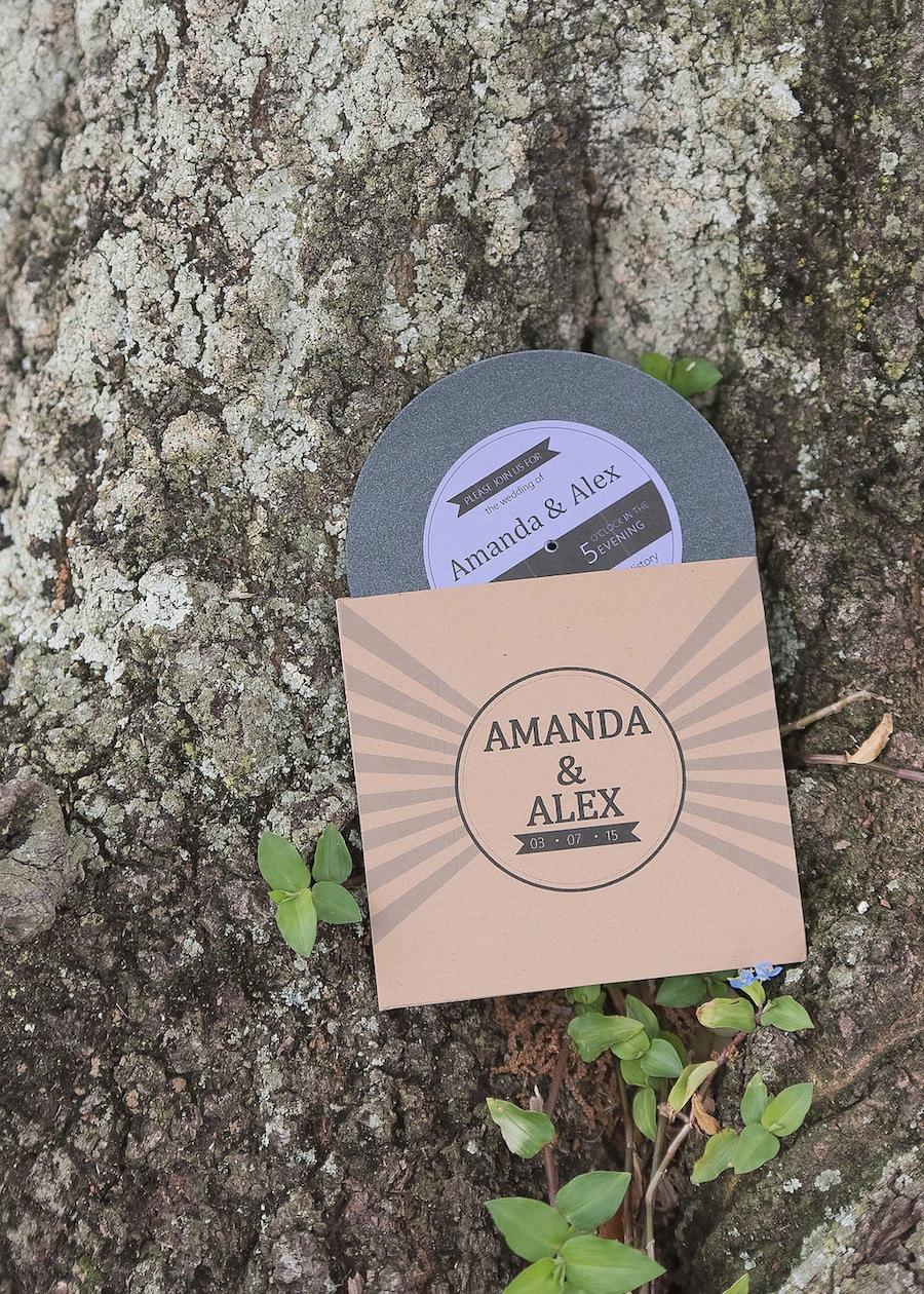 Retro Music, Record Wedding Invitations
