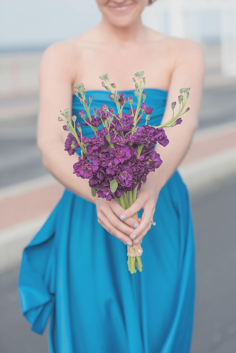 Purple Wedding Bouquet & Blue Bridesmaid Dress