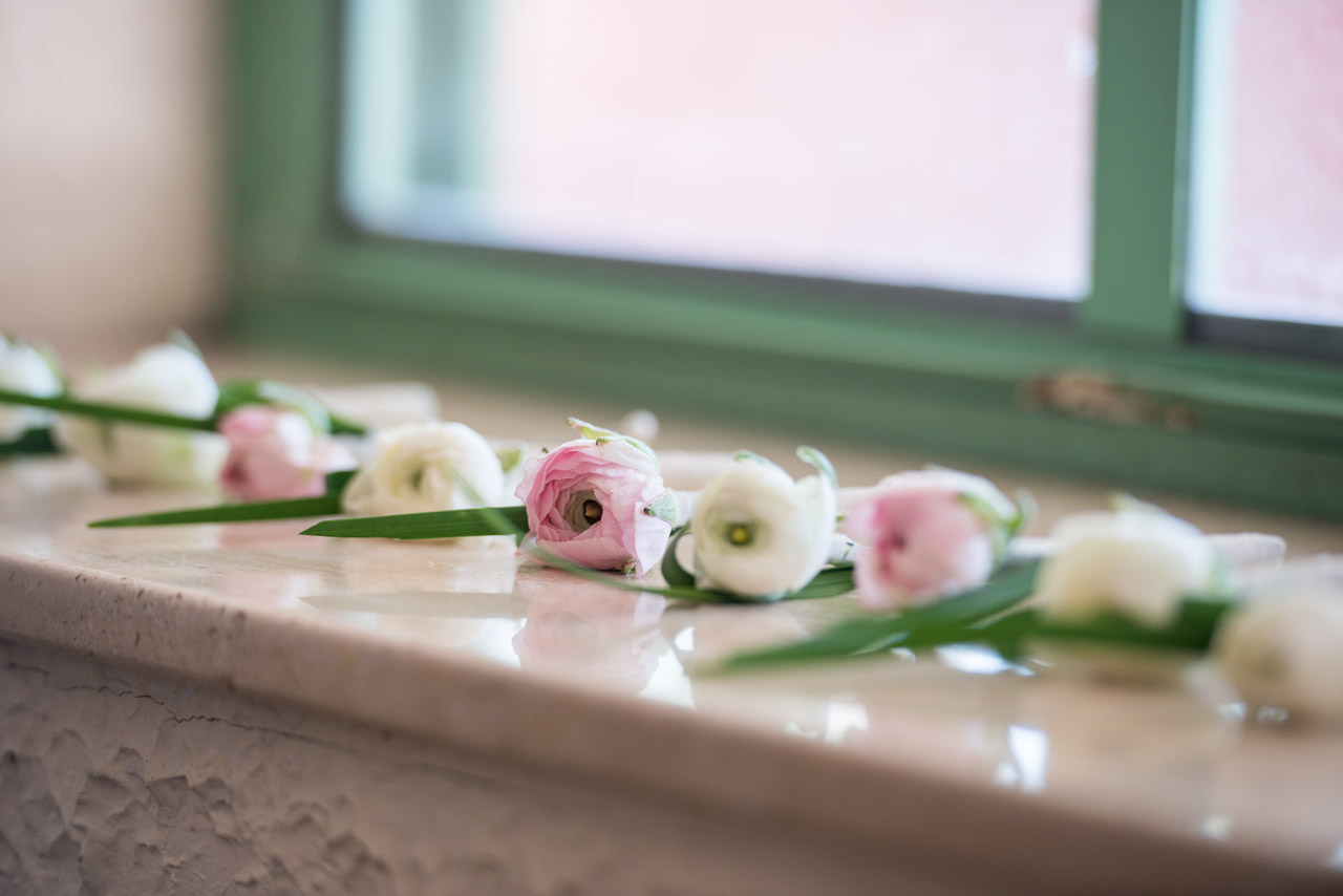 White and Pink Wedding Boutonnieres