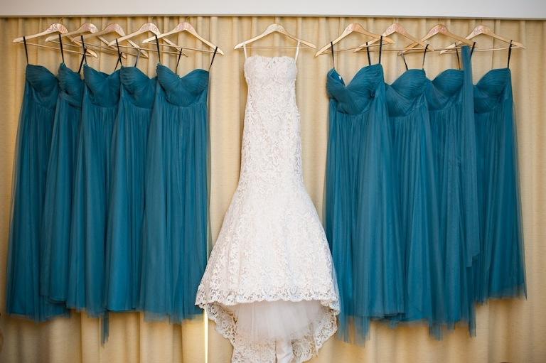 White Lace Wedding Dress Isabel O'Neil Bridal | Green, Teal Bella Bridesmaid Dresses