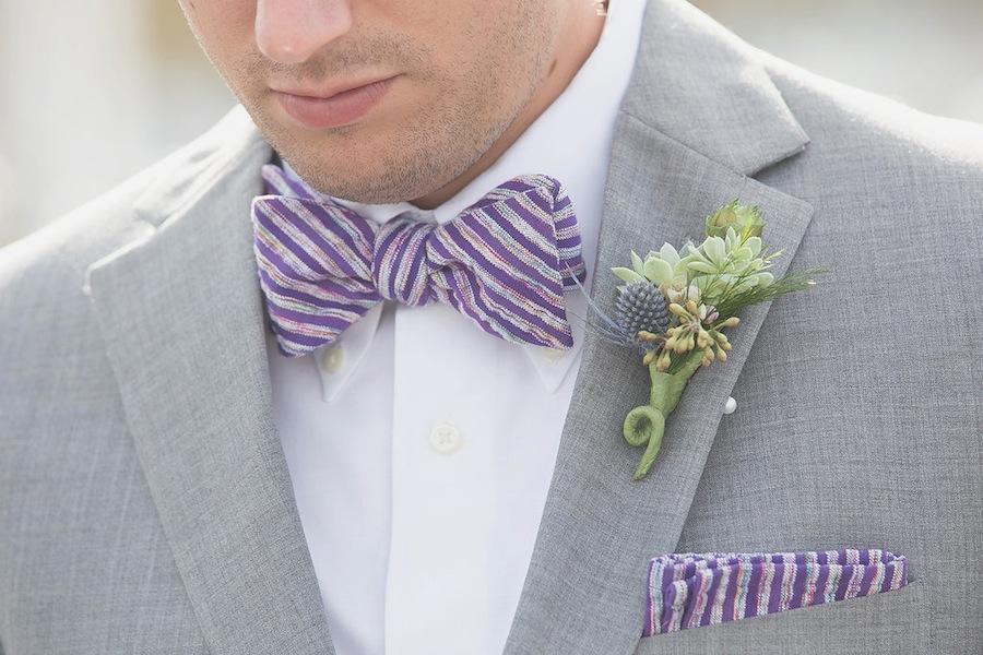 Purple Striped Groomsmen Tie and Handkerchief