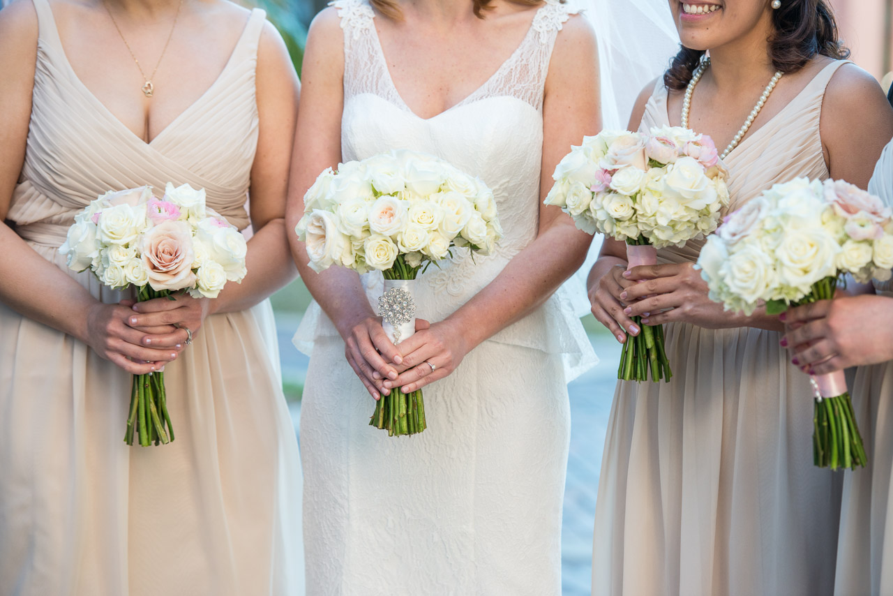 White and Pink Rose Wedding Bouquet | Champagne Bridesmaid Dresses