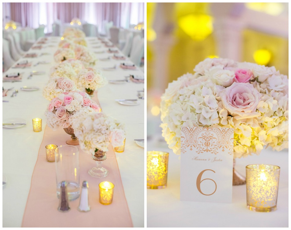 White Wedding Reception with Long Feasting Tables, Pink Runner and Low White, Pink and Gold Wedding Centerpieces