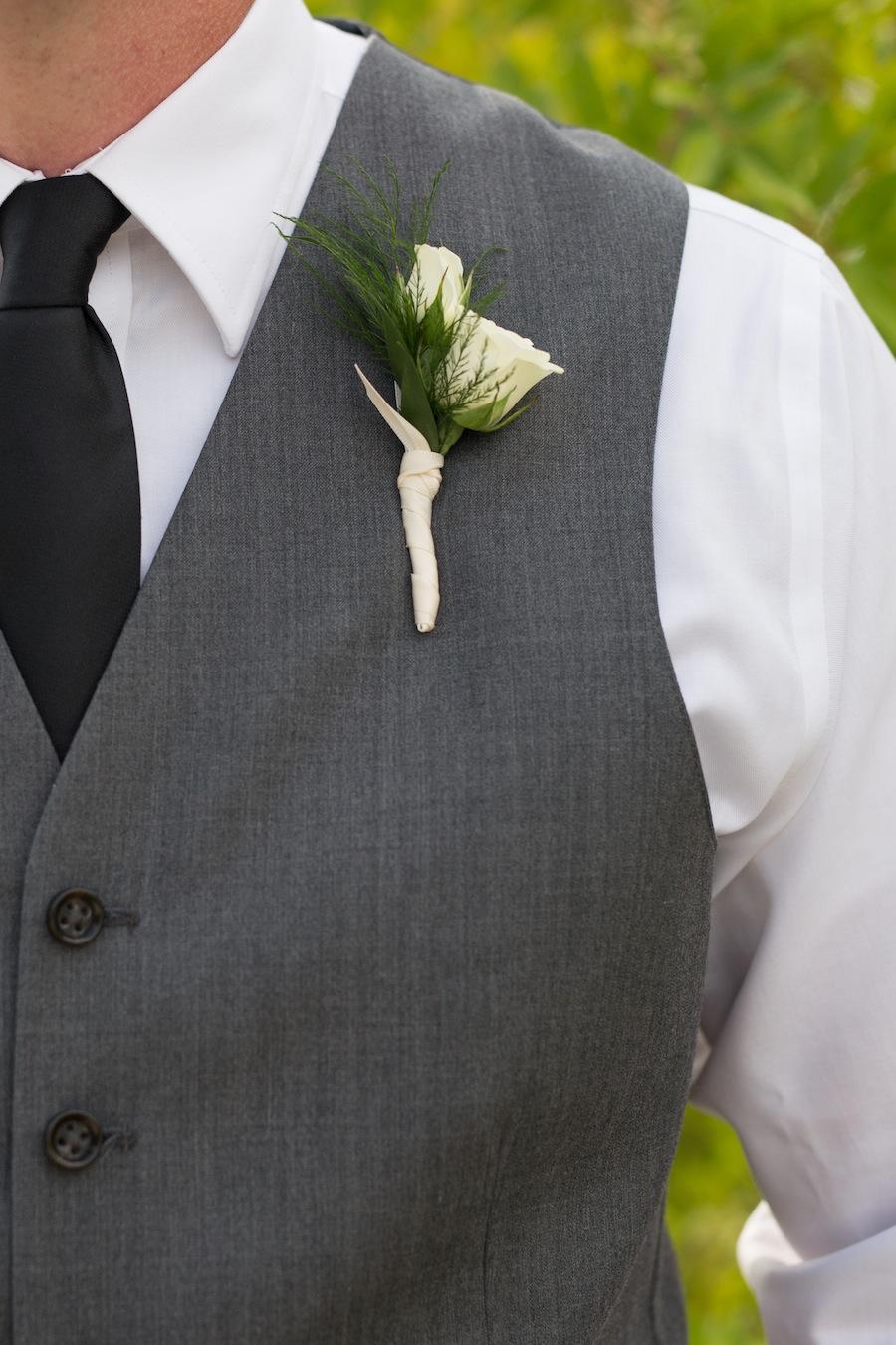 Grey Groomsmen Suit with White Boutonniere | Beach Wedding Attire