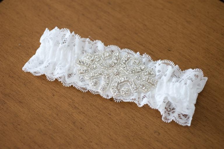 Lace Wedding Garter with Rhinestone Brooch