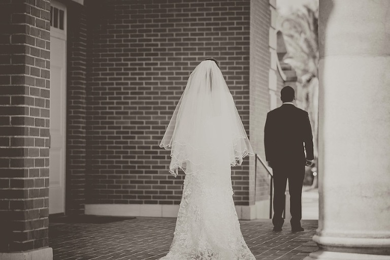 First Look on Wedding Day | Kristen Marie Photography