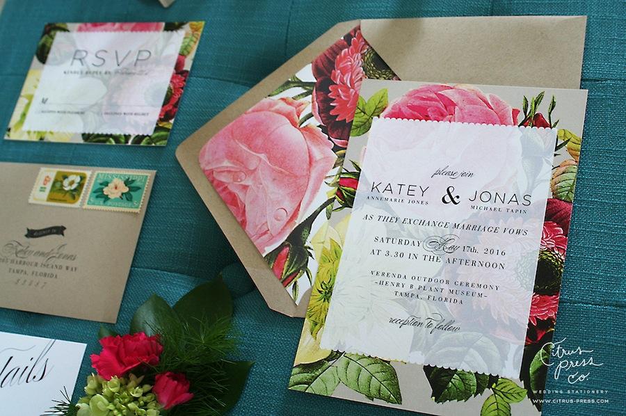 Pastel Botanical Wedding Invitations | Citrus Press Co, Tampa, FL