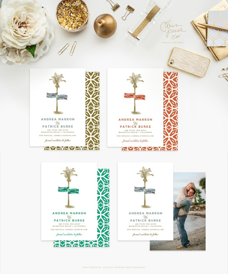 Tropical Florida Beach Inspired Wedding Invitations | Citrus Press Co, Tampa, FL