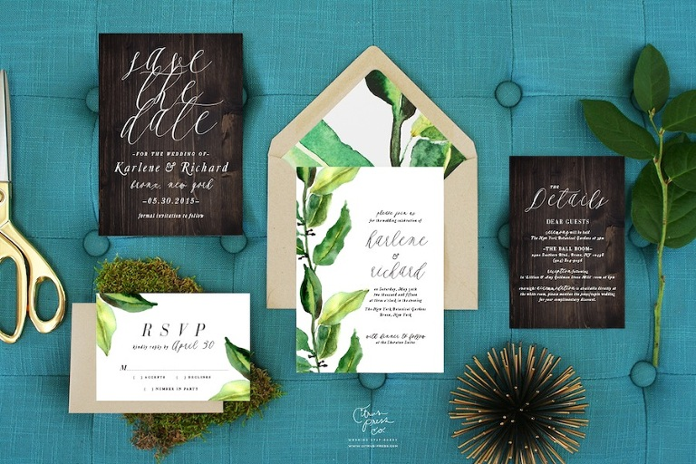 Woodlands Florida Beach Inspired Wedding Invitations | Citrus Press Co, Tampa, FL