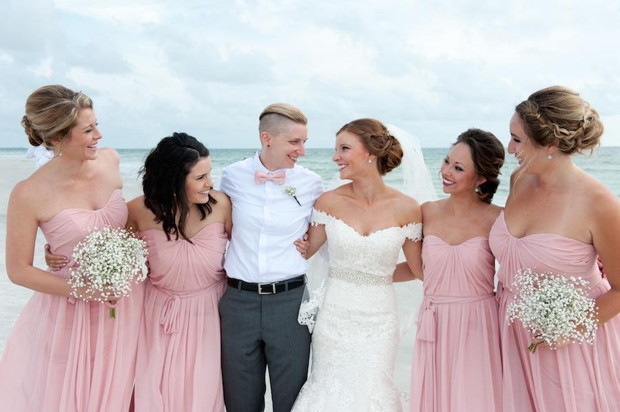 Bridal Party Pink Bridesmaid Dresses | Beach Wedding
