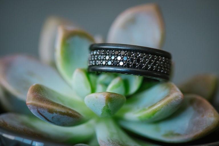 Black Wedding Ring on Succulent Wedding Centerpieces | Tampa Wedding Florist: Florist Fire