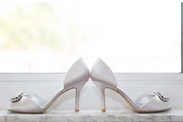 White Open Toe Wedding Shoes with Rhinestones