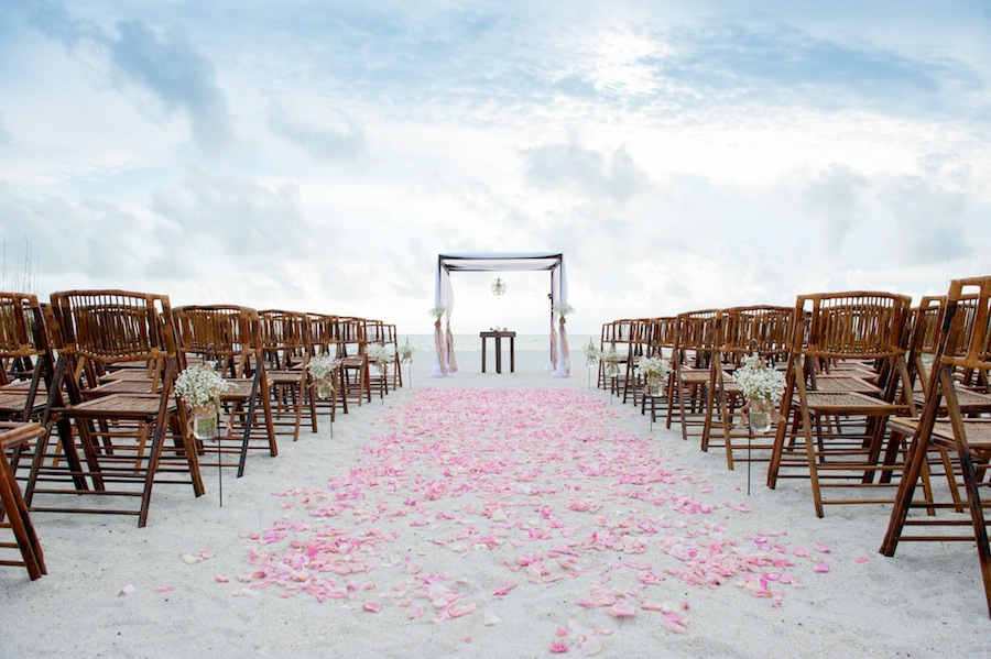 Treasure Island-St. Pete Beach Wedding with Wooden Bamboo Altar and Rose Petal Aisle