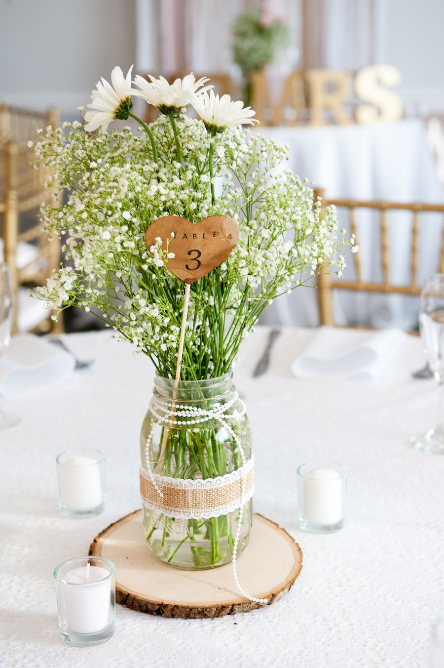 Rustic Baby's Breath Wedding Centerpieces with Wood Accents