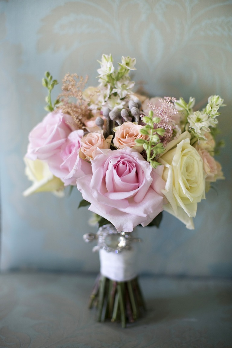 Pastel Pink and Peach Rose Wedding Bouquet | Tampa Wedding Florist Florist Fire