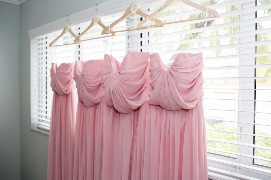 Pink Strapless Organza Bridesmaids Dresses