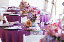 Purple, Pink and Lace Wedding Centerpieces | Cross Creek Ranch Wedding