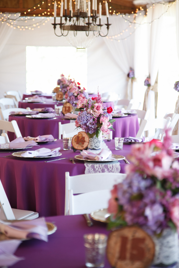 Purple Pink And Lace Wedding Centerpieces Cross Creek Ranch