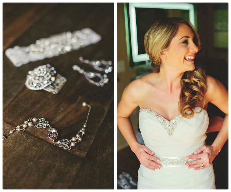 Bride Getting Ready on Wedding Day | Rhinestone Diamond Wedding Jewelry Accessories