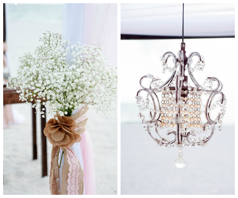 Baby's Breath in Mason Jar | Beach Wedding Ceremony Flowers and Decor