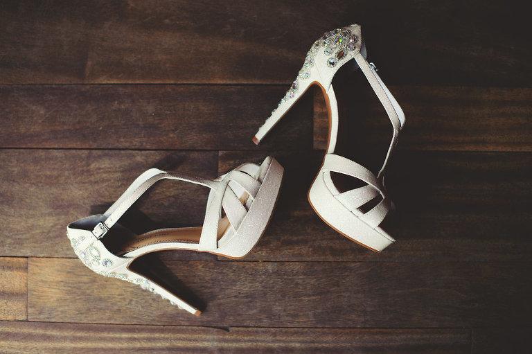 White Jeweled, Rhinestone High Heel Wedding Shoes