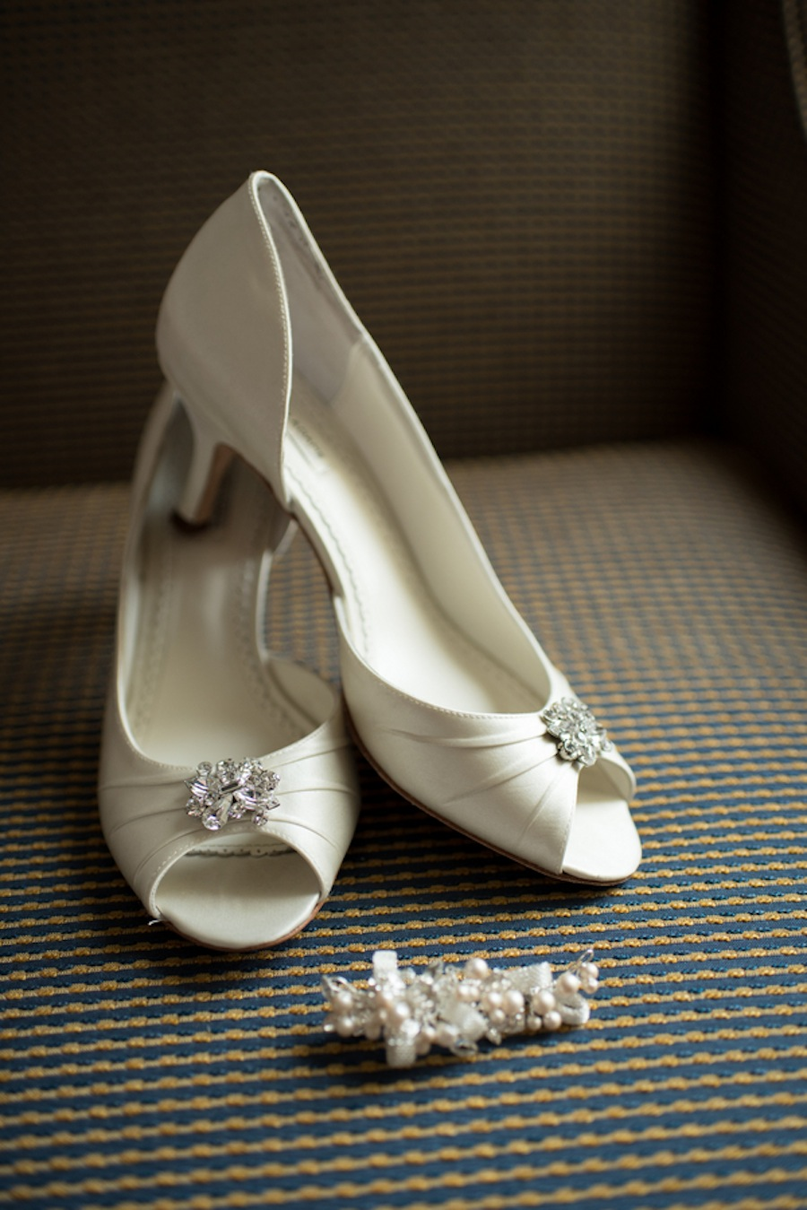 White Wedding Shoes with a Low Heel