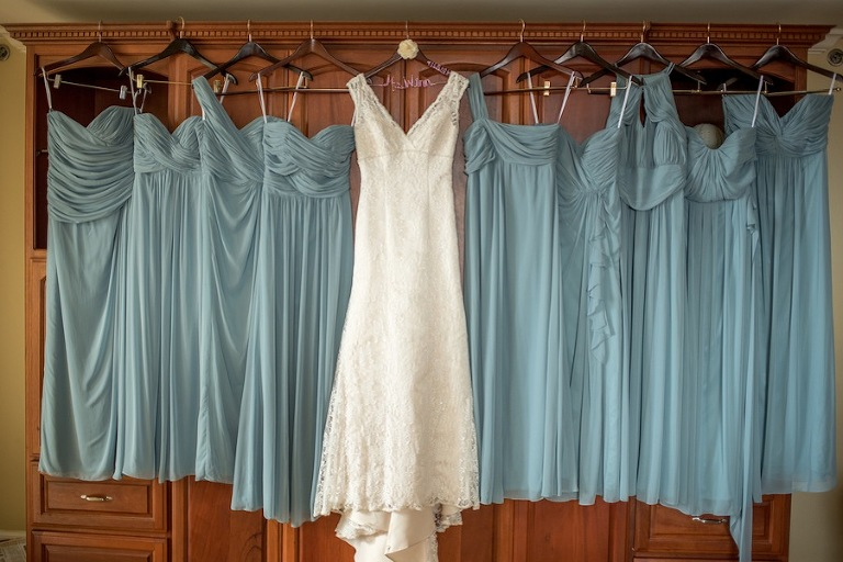 David's Bridal Wedding Dress and Pastel Blue Green/Dessy Bridesmaid Dresses