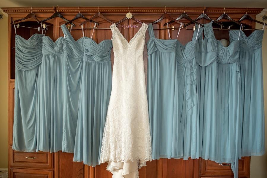 David's Bridal Wedding Dress and Pastel Blue Green/Dessy Bridesmaid Dresses