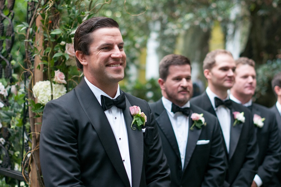 Groom Watching Bride Walk Down Wedding Aisle   Tampa Garden Club Wedding