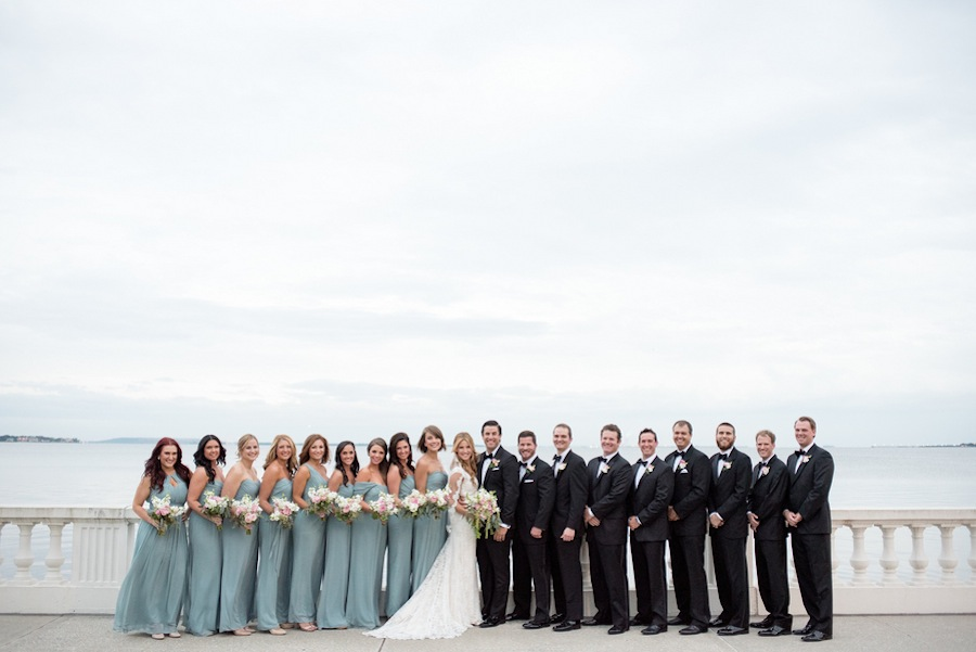 Bayshore Boulevard Wedding Party Portrait   South Tampa Wedding   Caroline & Evan Photography