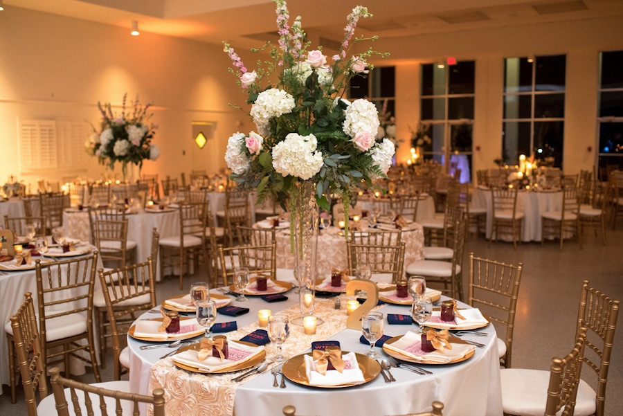 Gold Wedding Reception with Tall White Centerpieces   Tampa Wedding Florist Apple Blossoms Floral Design   Tampa Garden Club Wedding Venue