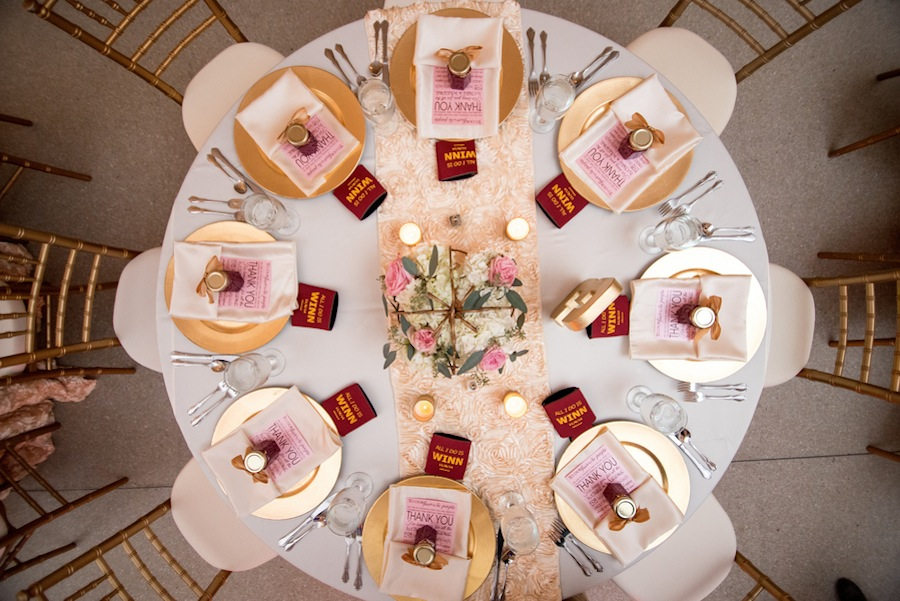 Gold and Ivory Wedding Reception and Chargers