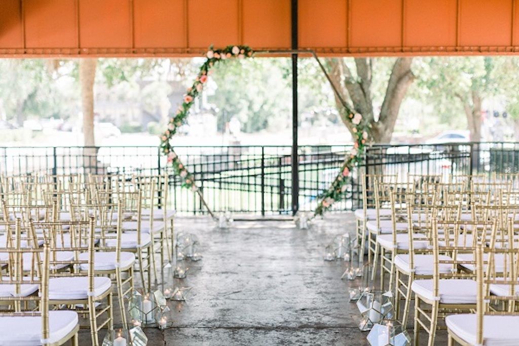 A Chair Affair Furniture Collections | Tampa, Central Florida Wedding and Event Rentals from A Chair Affair Ceremony with Gold Chiavari Chairs