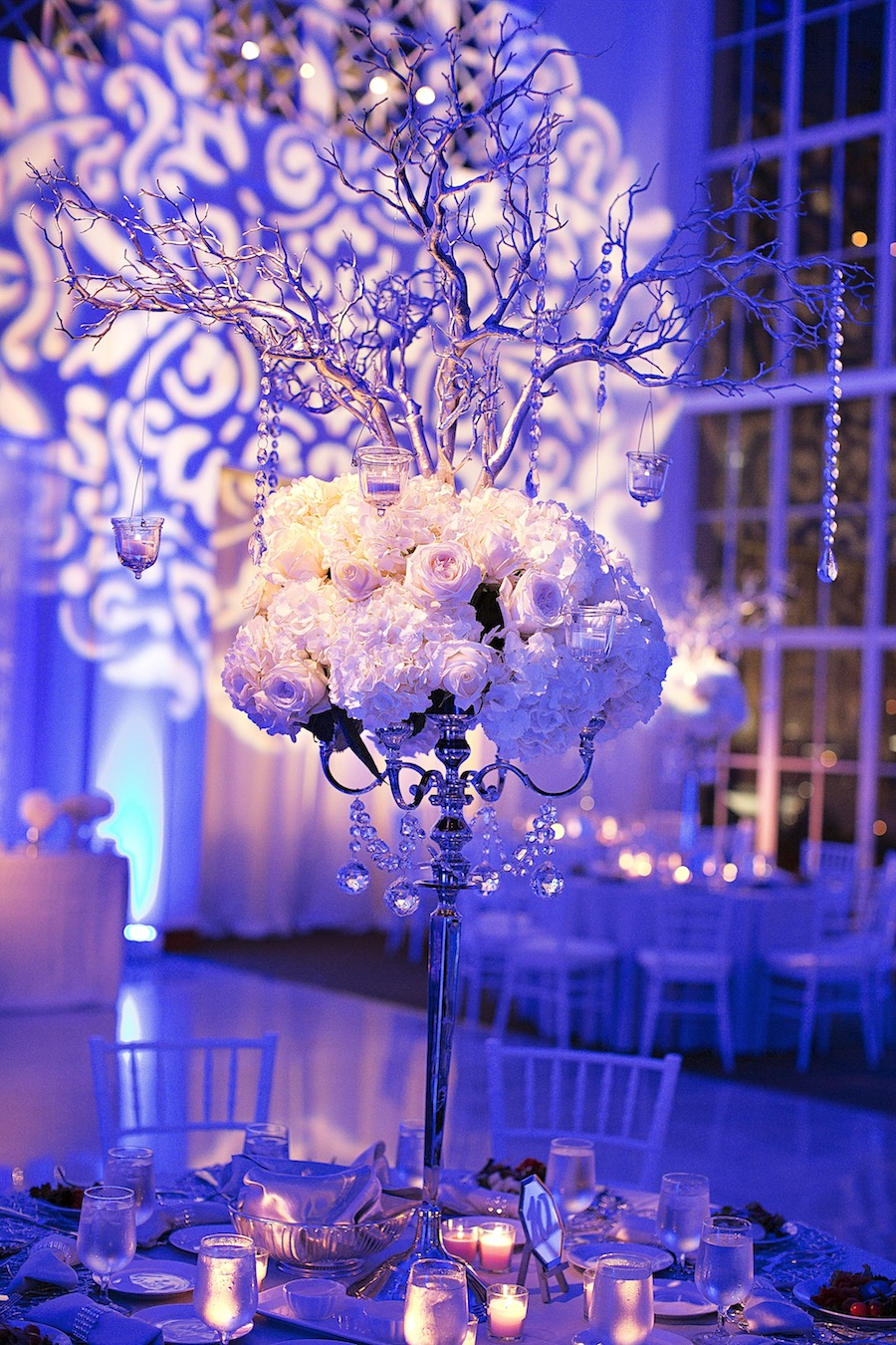 Modern Wedding Reception at The Vault | Tall White Centerpieces by Apple Blossoms Floral Design | Downtown Tampa Wedding