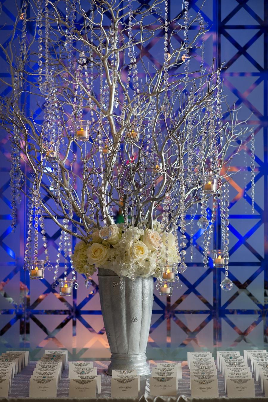 Tree wiht Dripping Rhinestones Wedding Decor by Apple Blossoms Floral Design