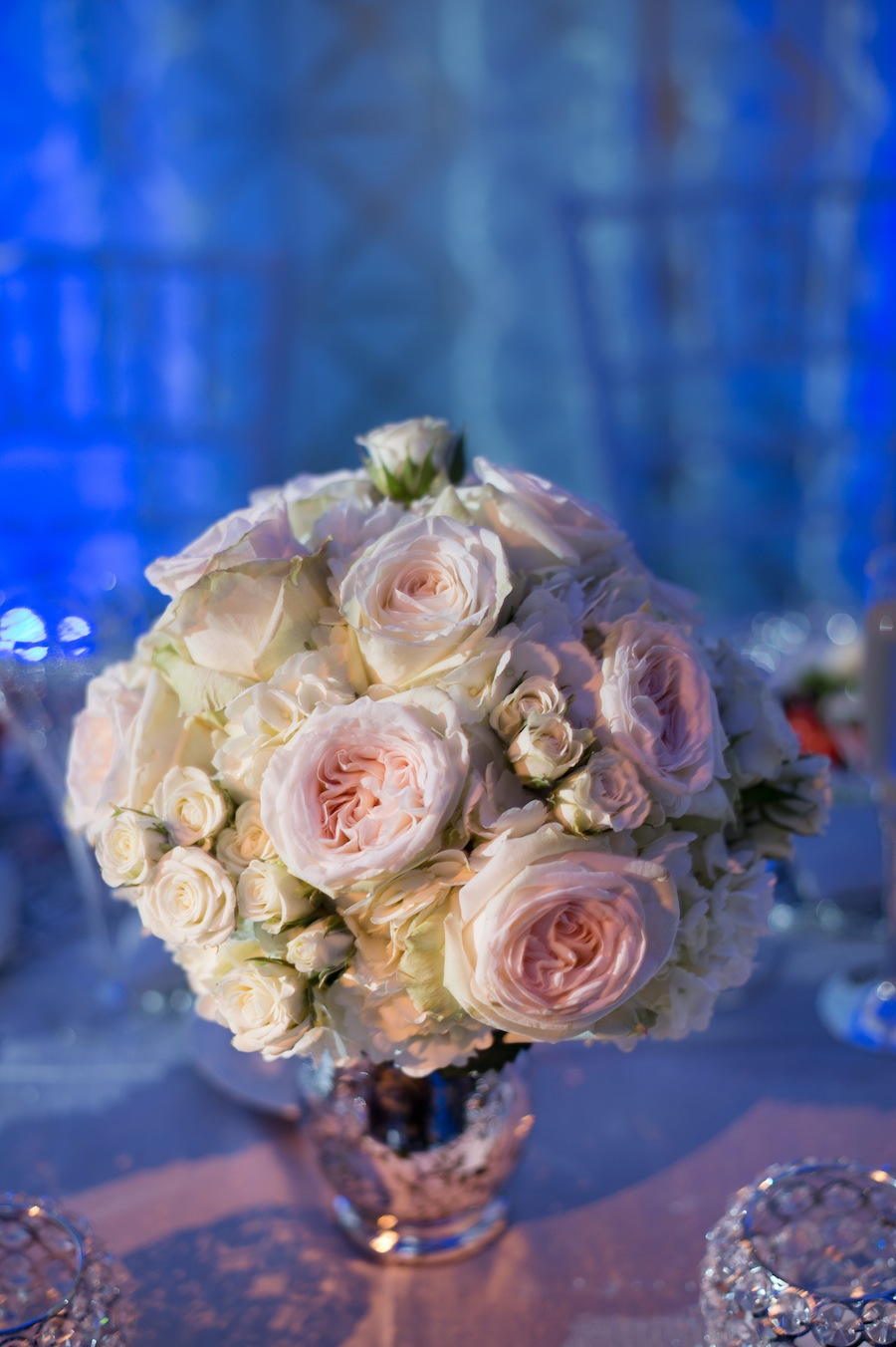 Pink and White Rose Wedding Centerpieces by Apple Blossoms Floral Design