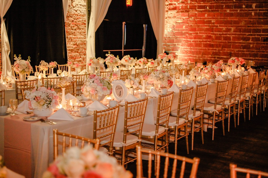 Peach Pink And White Wedding Centerpieces With Long Feasting Tables