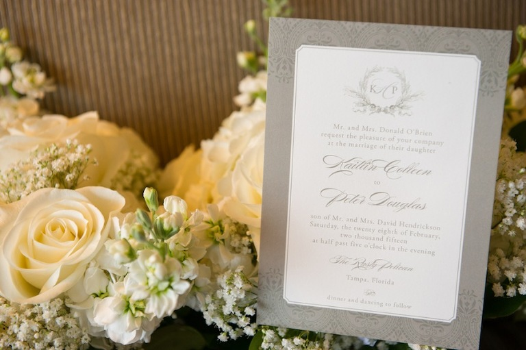 Tradition White and Grey Wedding Invitation