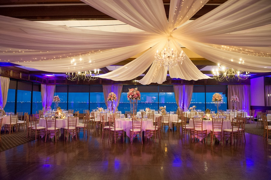 Rusty Pelican Wedding Reception with Draping and Chandeliers | Tampa Waterrfront Wedding Venue