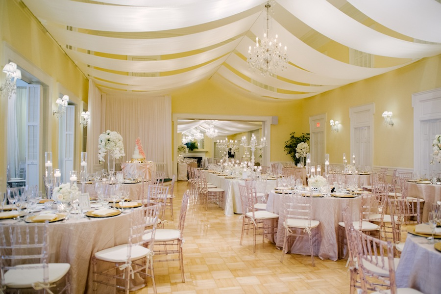 Tampa Yacht and Country Club White Wedding Reception with Draping