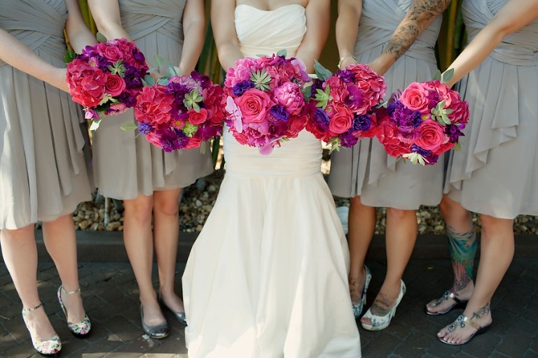 Bright and Color Pink and Purple Wedding Bouquets