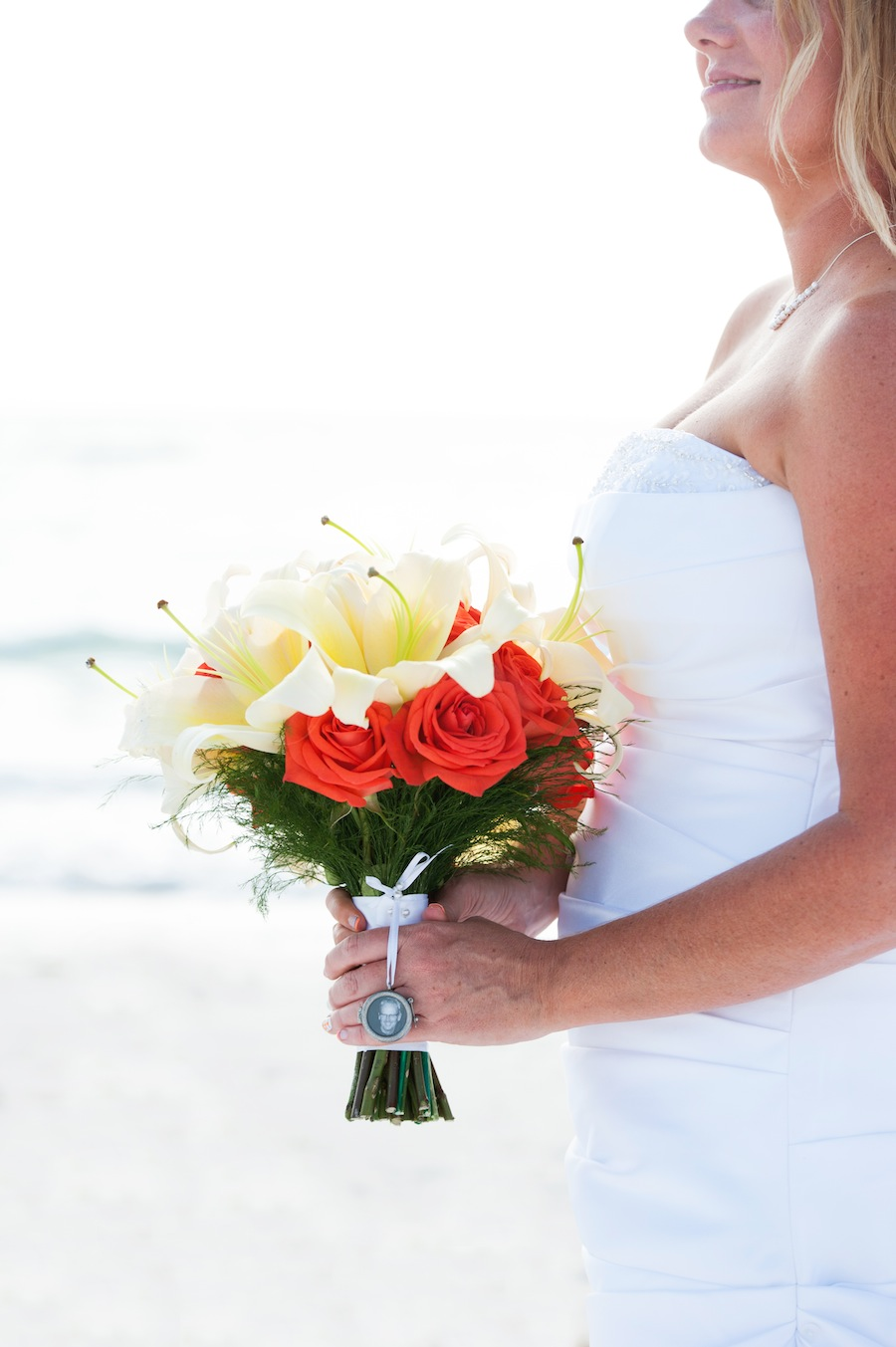 Red and White Beach Wedding Bouquet   Pass a Grille Beach Wedding Ceremony