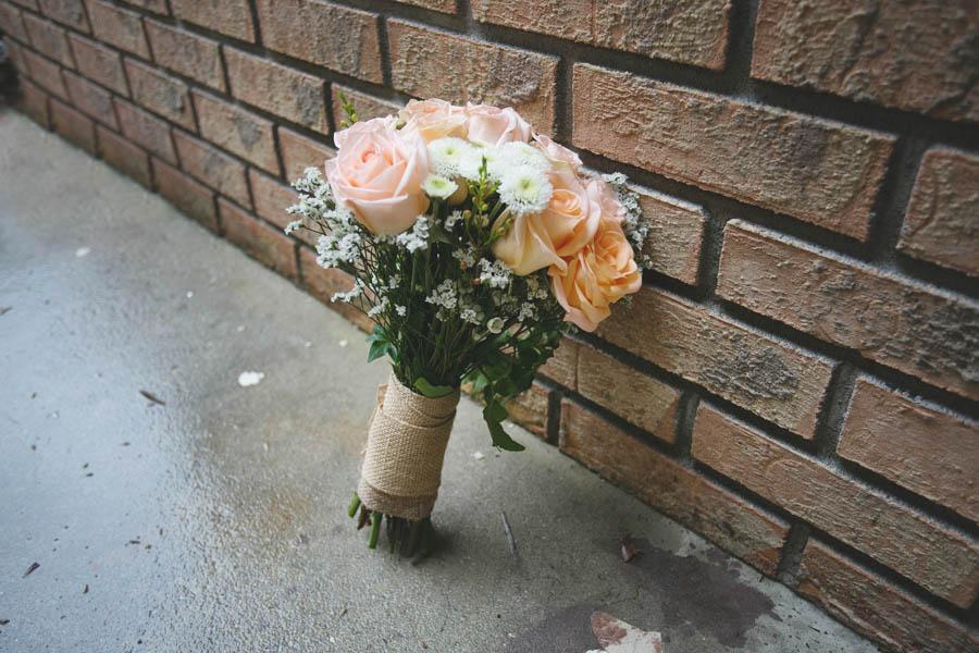 Peach, Pink Rustic Wedding Bouquet