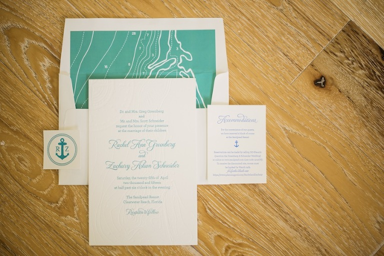 Nautical Teal and Green Wedding Invitations