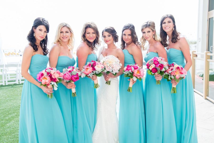 Bright Pink and Peach Wedding Bridesmaid Bouquet   Blue Green Bill Levkoff Bridesmaids Dresses