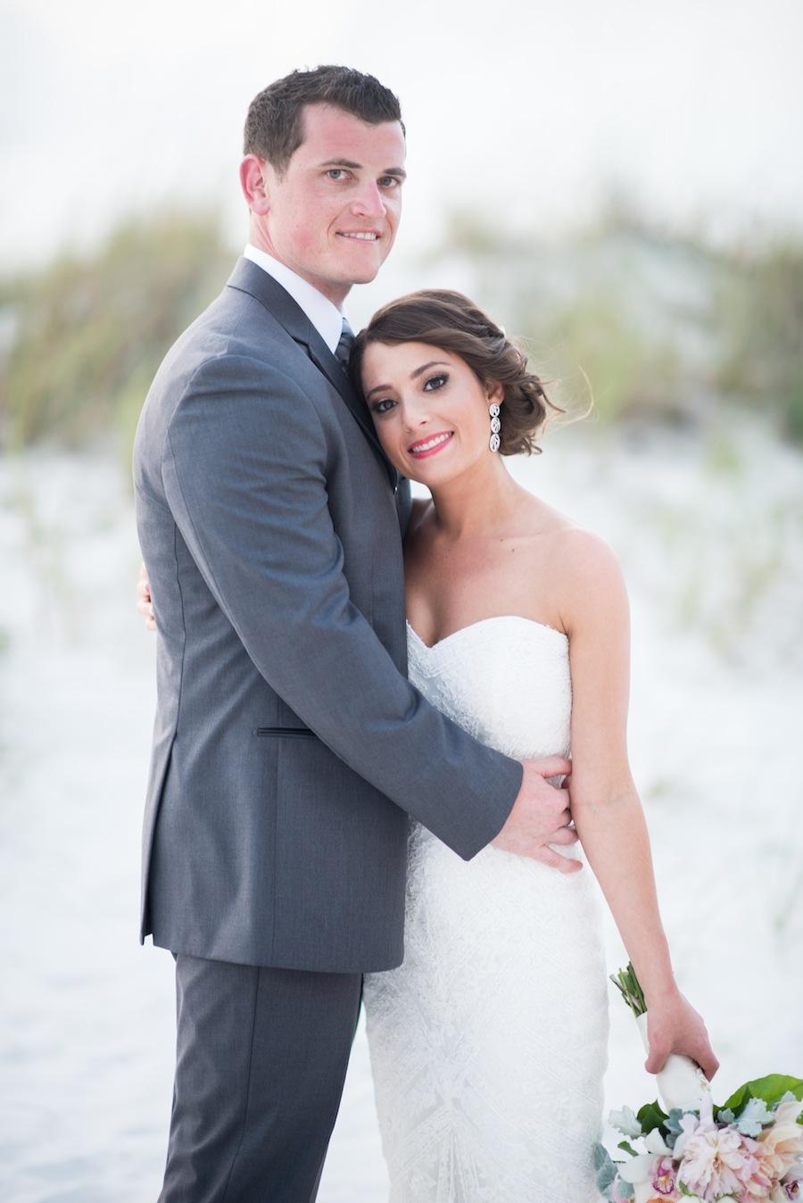 Beach Bride and Groom Wedding Portrait