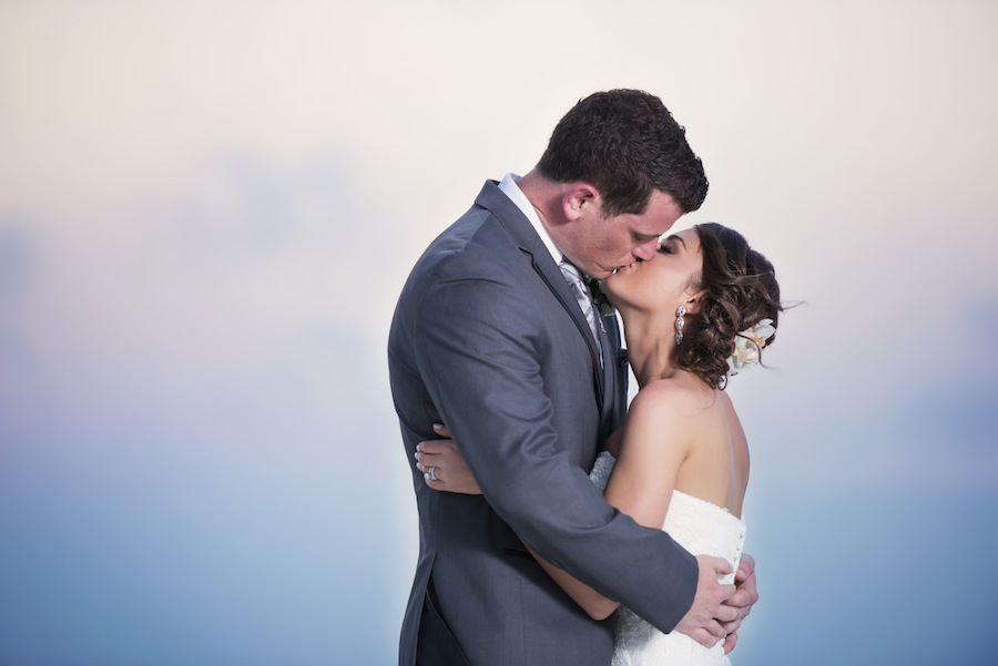 Sunset Bride and Groom Wedding Portrait