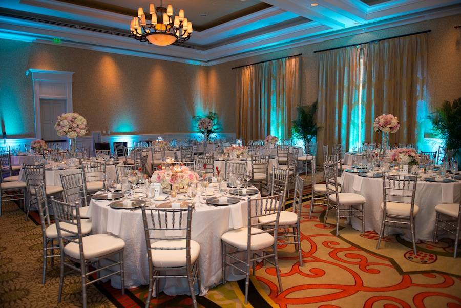 Silver, Blue and Pink Wedding Reception   Sandpearl Wedding Clearwater Beach