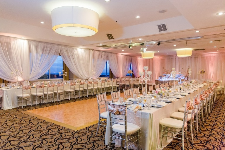 White Draping with Silver and Pink Wedding Decor | Tampa Wedding Venue the Centre Club Wedding Reception